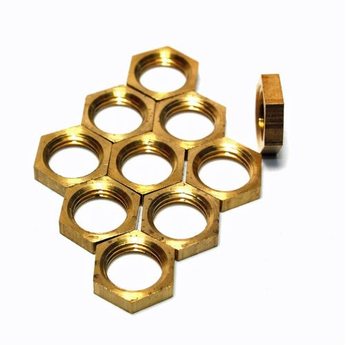 Solid Brass M10 x 1mm Pitch Hexagon Thin Nuts Pack 10